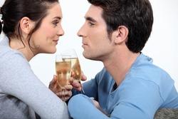 Couple having champagne