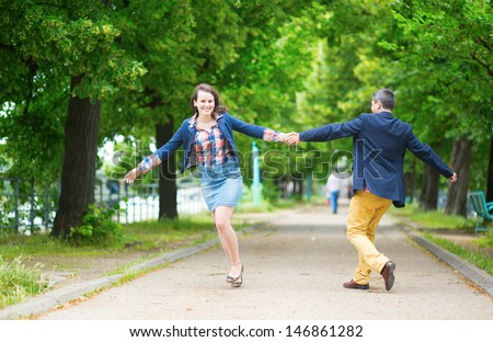 Couple having fun in a park
