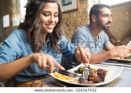 Couple having lunch at rustic gourmet restaurant #226567432