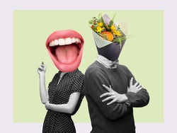 Couple headed with bouquet of spring flowers and big female mouth on pastel background. Copy space for ad, text. Modern design. Conceptual, contemporary bright artcollage. Summertime, surrealism.