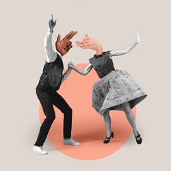 Couple headed with hands dancing on geometrical background. Modern design, contemporary art collage. Inspiration, idea, trendy urban magazine style. Negative space to insert your text or ad