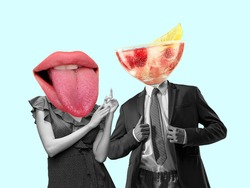 Couple headed with tasty cocktail with berries and big female mouth on pastel background. Copy space for ad, text. Modern design. Conceptual, contemporary bright artcollage. Summertime, surrealism.