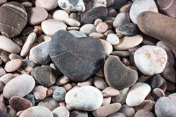 Couple hearts of pebbles