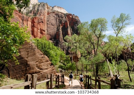 Couple Hiking at Zion National Park Rocky Mountains in Utah, USA