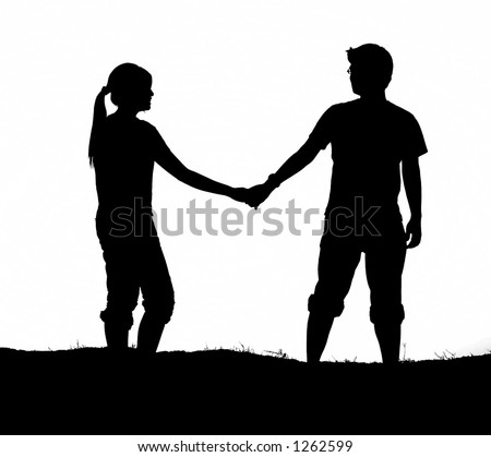 stock photo : Couple holding hands (Black and white version)