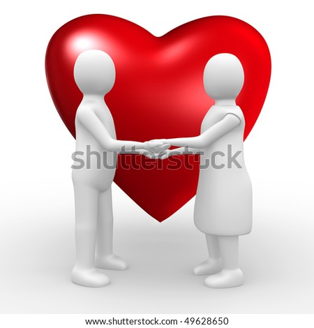 Couple holding hands in front of a big red heart, 3d image