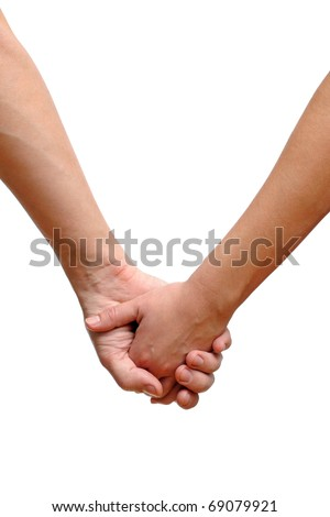 Couple holding hands isolated on white background