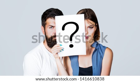 Couple holding paper question mark. Anonymous, man and woman question, incognita. Problems and solutions. Couple in quarrel. Quarrel between people. Problem in couple, question mark.
