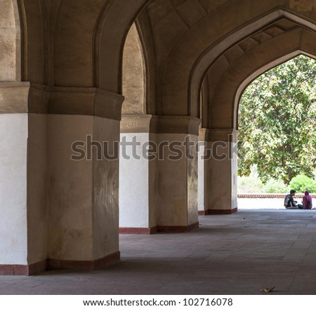 Couple in Akbars Tomb, Agra, India