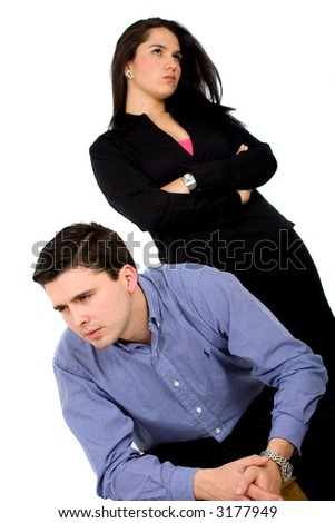 couple in an argument over a white background