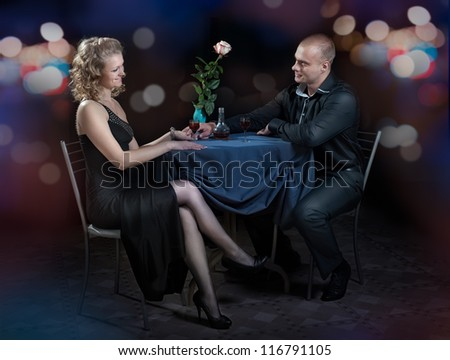 Couple in cafe for romantic dinner