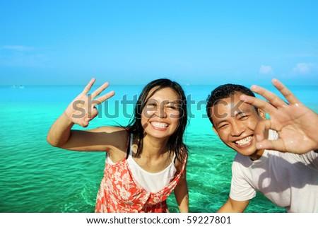 couple in honeymoon vacation - stock photo