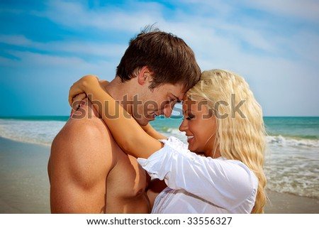Couple in love at the beach.