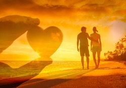 Couple in love enjoying a beautiful romantic walk on the beach. double exposure