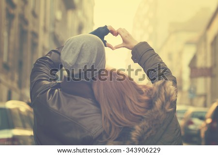 Photo of Couple in love.Focus on hands.
