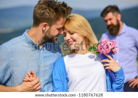 Couple in love happy dating, jealous bearded man watching wife cheating him with lover. Broken heart concept. Couple romantic date lovers flirting. Lovers meeting outdoor flirt romance relations. #1180767628