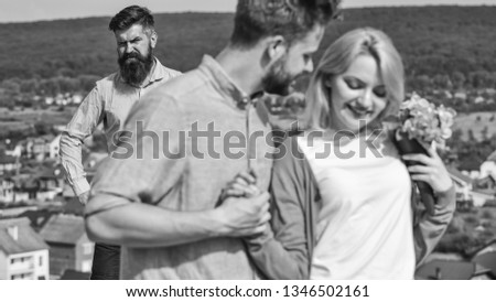 Couple in love happy dating, jealous bearded man watching wife cheating him with lover. Broken heart concept. Lovers meeting outdoor flirt romance relations. Couple romantic date lovers flirting. #1346502161