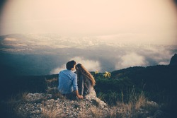 couple in love in mountains
