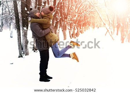 couple in love outdoor winter