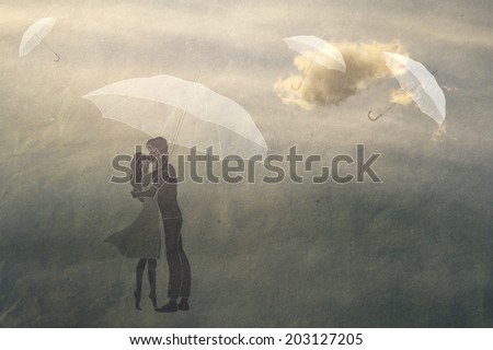couple in love under an umbrella, texture paper, vintage, romance,  man and woman in love