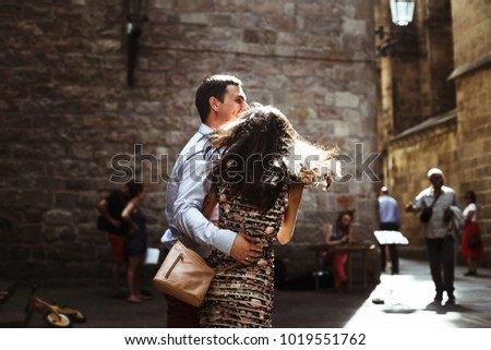 couple in love walking in Barcelona, travel, tourism #1019551762