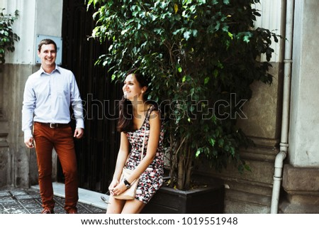 couple in love walking in Barcelona, travel, tourism #1019551948