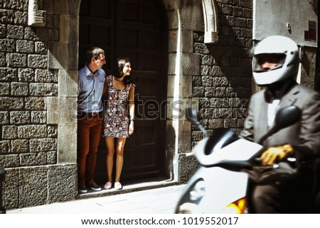 couple in love walking in Barcelona, travel, tourism #1019552017