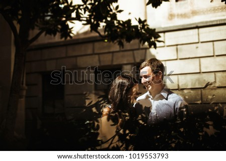 couple in love walking in Barcelona, travel, tourism #1019553793
