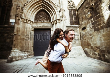 couple in love walking in Barcelona, travel, tourism #1019553805