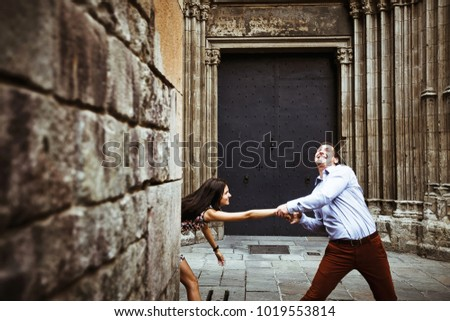 couple in love walking in Barcelona, travel, tourism #1019553814