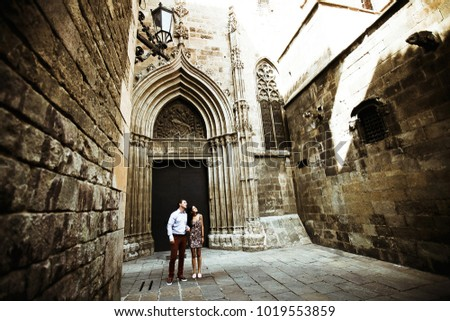 couple in love walking in Barcelona, travel, tourism #1019553859