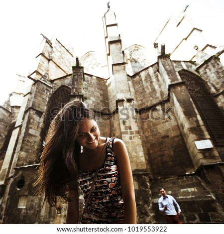 couple in love walking in Barcelona, travel, tourism #1019553922