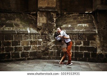 couple in love walking in Barcelona, travel, tourism #1019553931