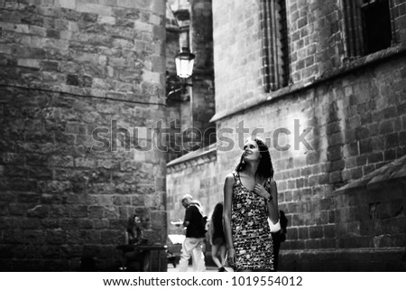couple in love walking in Barcelona, travel, tourism #1019554012