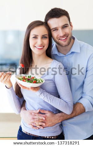 Couple in modern kitchen #137318291