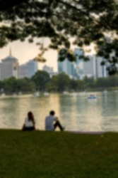 Couple in the park in Blur style
