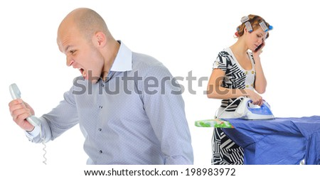 Couple is arguing while talking over the telephone. Isolated on white background