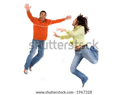 couple jumping 2 - over a white background