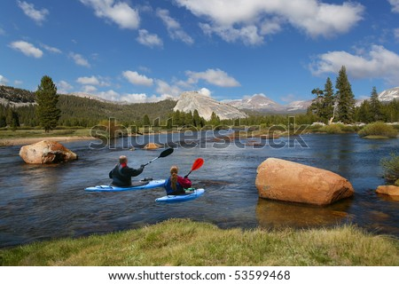 Couple kayaking in the river