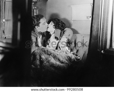 Couple kissing each other - stock photo