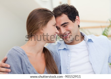 Couple looking at each other while smiling