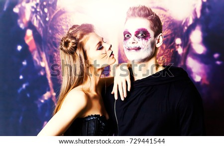 couple makeup halloween woman cat male zombie #729441544