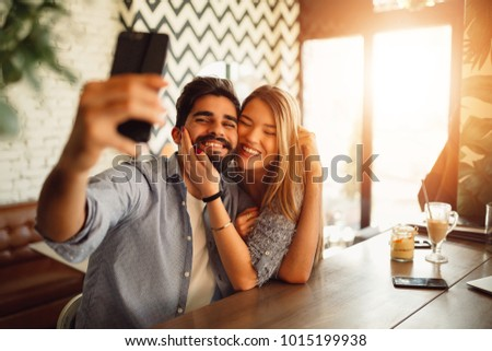 Couple making selfie with front camera. #1015199938