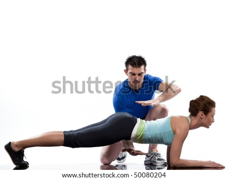 couple, man and woman on Abdominals workout Basic Plank posture on white background