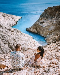 couple men and woman mid age on vacation at the Greek Island Crete. Europe SeitLimani
