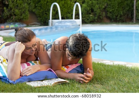 Couple near the poolside