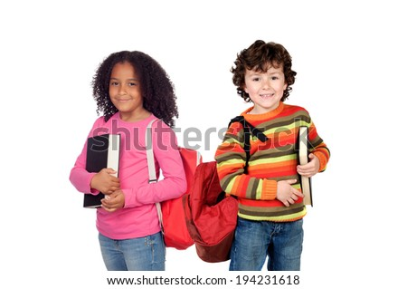 Couple of adorable students isolated on a white background