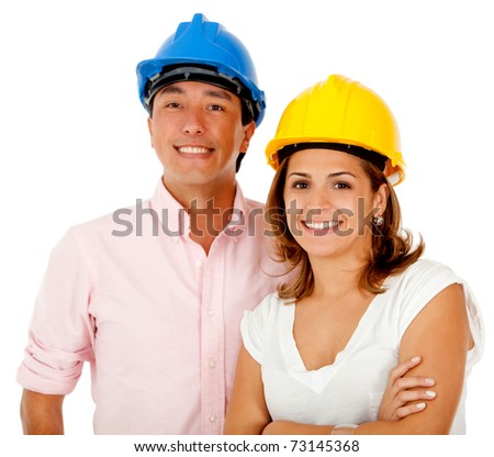 Couple of architects wearing helmets ? isolated over a white background