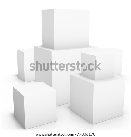 Couple of blank boxes on white background