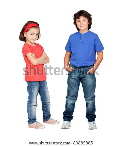 Couple of children isolated on white background
